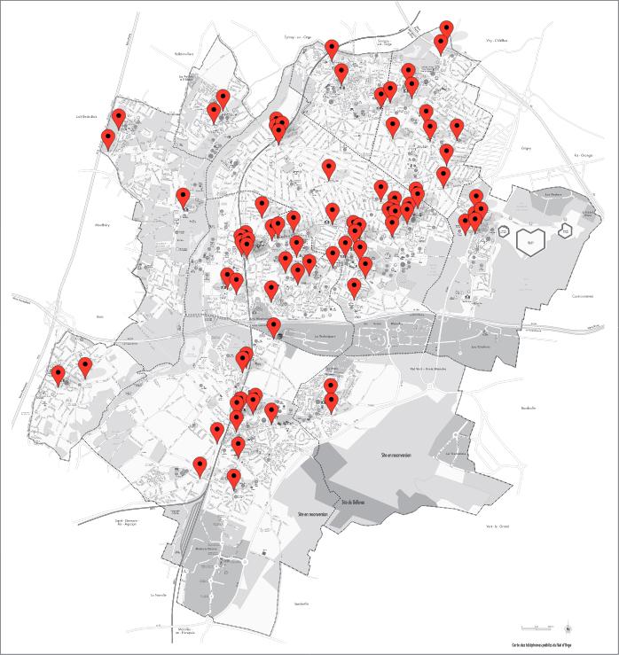 Carte des cabines de téléphone public de l'agglomération du Val d'Orge (2013)